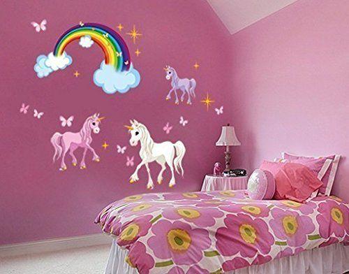 Stunning Schlupfwinkel Kinderzimmer Kinderzimmer Wandaufkleber Wandtattoos Einh rner Wandbilder Kinderzimmer Rainbow Wall Decal