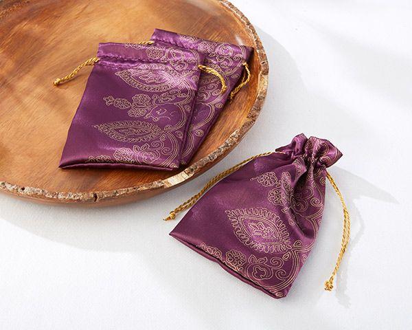 Pochons à dragées oriental violet pour mariage bollywood - Amethyst Jewel Favor Bags
