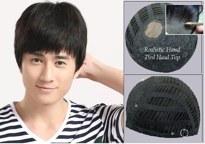 Mono Top Glueless Black Brown Highlighted Mens Toupee Human Hair Wig For Men