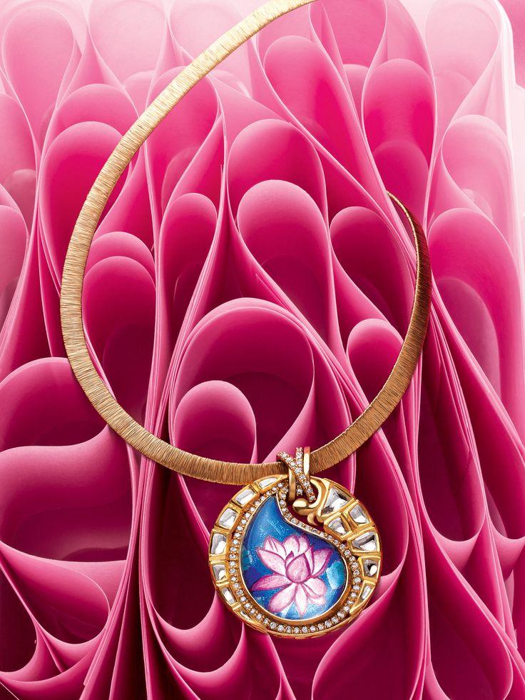 Zoya lotus and ambi (paisley) inspired pendant in yellow gold with polki diamond and enamel work