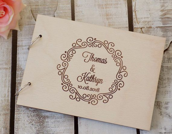Wedding GuestBook Rustic Wedding Guest Book Custom Wedding