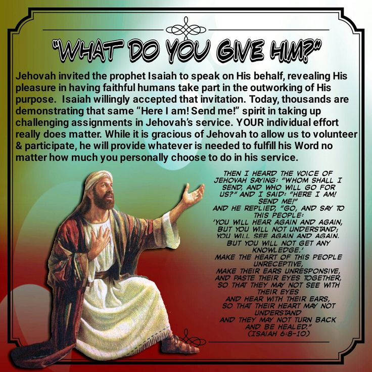 """""""WHAT DO YOU GIVE HIM?""""\\(Isaiah 6:8-10)"""