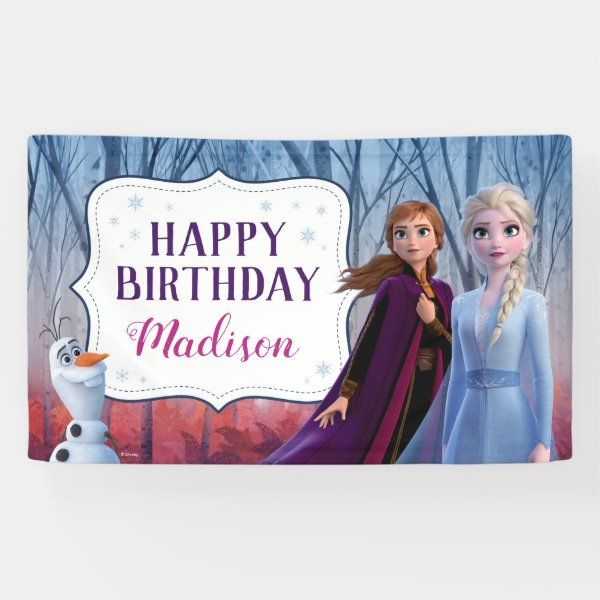 Frozen 2 Anna Elsa Happy Birthday Banner Zazzle Com With