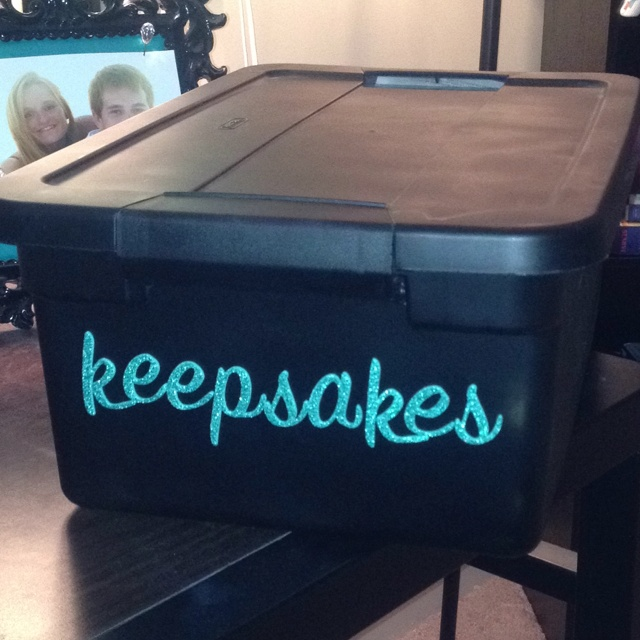 I spray painted a $5 plastic storage tub and put stick on lettering on it