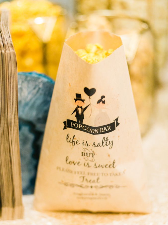 Life is salty but love is sweet: http://www.stylemepretty.com/2016/10/05/quirky-vegas-wedding-with-a-killer-popcorn-bar/ Photography: Gabby J - http://www.gabyjphotography.com/