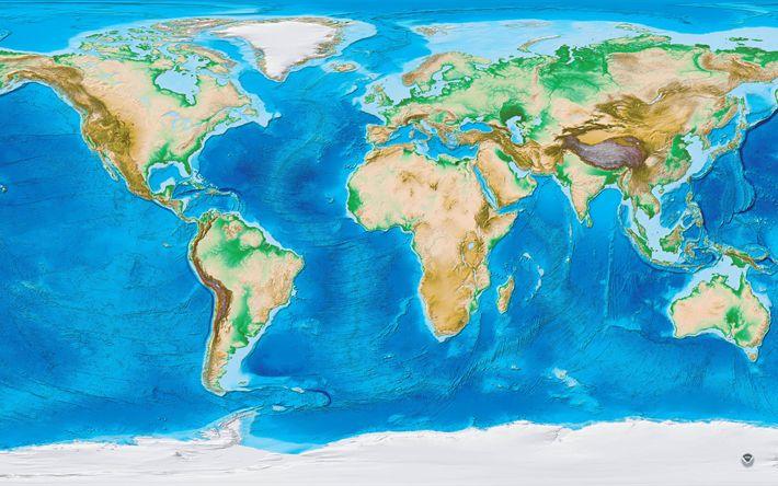 Download imagens mapa, geográfica mapa, 4k, continentes, oceanos, mapa da Europa, mapa da Ásia, mapa dos EUA