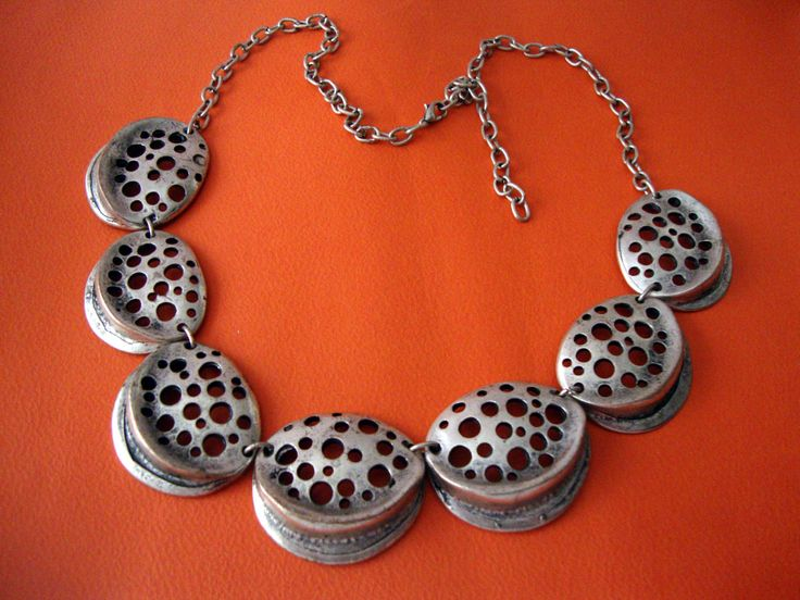 Modern Style Custom Jewelry Pewter Necklace Adjustable Length 40 - 55 cm by SilveradoJewellery on Etsy