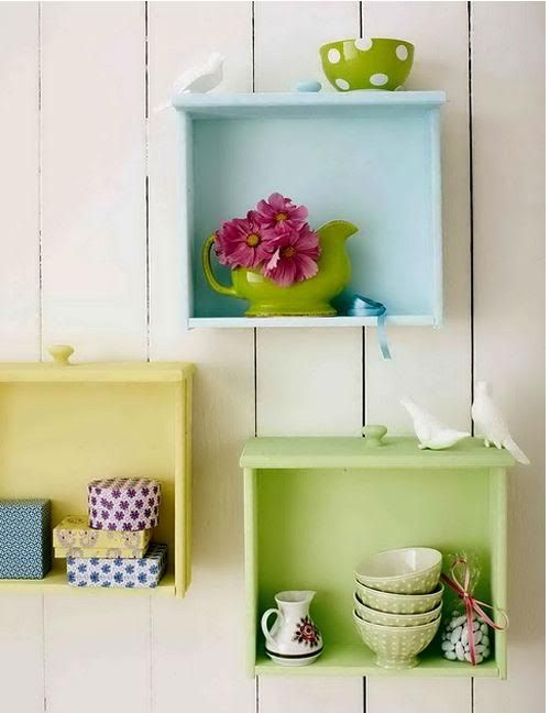 Turn your drawers into wall shelves. Just paint and hang them!