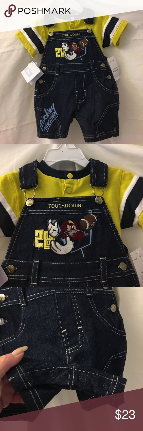 Disney Mickey baby boys overall set Cute Disney Mickey football overalls, baby boys size 12 months.  Denim overalls with yellow short sleeve top.  100% cotton, machine wash.  Please message me with any questions. Disney Matching Sets