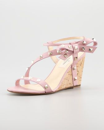 Rockstud Asymmetric Bow Wedge Sandal by Valentino at Neiman Marcus.