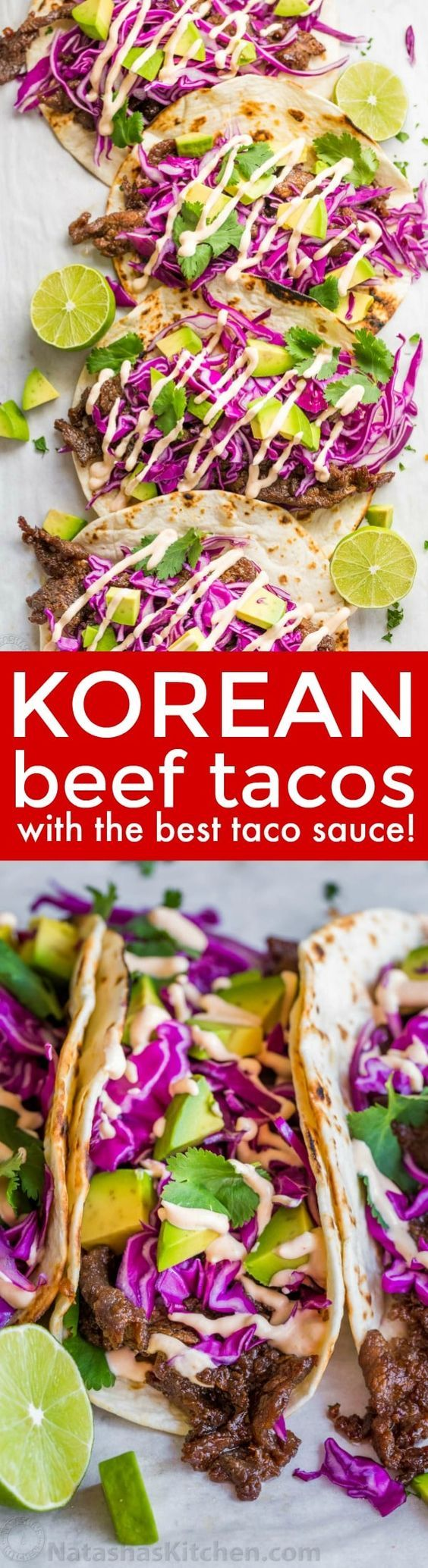 Fully loaded Korean Beef Tacos with flavorful Beef Bulgogi. Don't skip the best taco sauce! Every bite of these Korean Beef Tacos is a flavor explosion! | natashaskitchen.com
