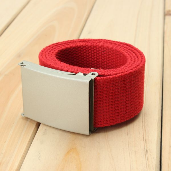 Men Canvas Belt Solid Strap Slivery Buckle Plain Webbing Weave Waistband