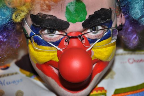Close up face of scary clown