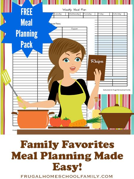 Download Family Favorites Meal Planning Made Easy from Frugal Homeschool Family for free! This pack includes a monthly meal planning calendar, weekly meal planning worksheet, shopping list, and a Family Favorites list to keep track of your family's favorite meals. …