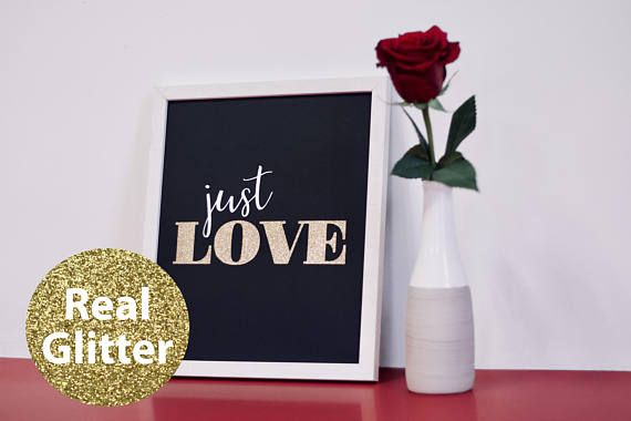 Just Love black. Modern minimalistic wall picture, made of special, thick, extra black creative paper and gold glitter paper, whith 3D effect (it's not printed). Wall paper art | Wall decor | Wall art | Wall print art | Paper home decor | paper cut | picture | minimalistic | love | just | just love | valentine | valentine day | black and white | glitter | gold glitter