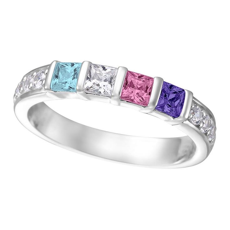 Princess Ring with Side Stones