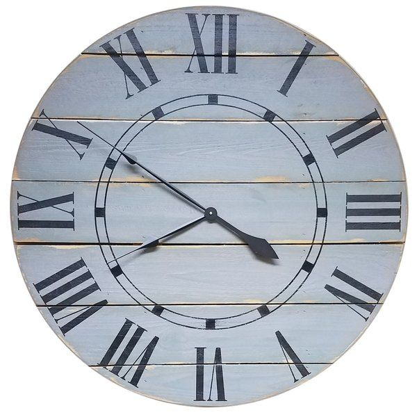 This Oversized Farmhouse Wall Clock is constructed using a light weight horizontal cedar wood slat design. Hand painted black Roman numerals in a poster condensed font and an inner accent ring with individual hour marks complete the farm to home look. Installed is a high torque quartz movement, antique-style spade hands and hardware to hang it.
