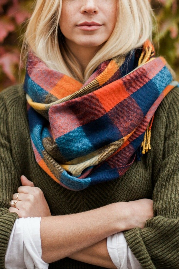 Beautiful colors in this cozy scarf by SheIn.