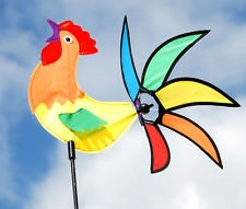 Outdoor Animal Rainbow Rooster 3D 16 Colorful Yard Garden Wind Spinner #2035KC