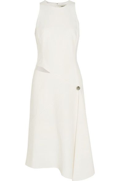 Mugler's dress is crafted from structured ivory crepe skillfully folded and draped to create a striking asymmetric silhouette - we like how it's seemingly pinned by an oversized silver button. It's subtly detailed with a cutout placed elegantly at the side of your waist. Match it with same-tone accessories.