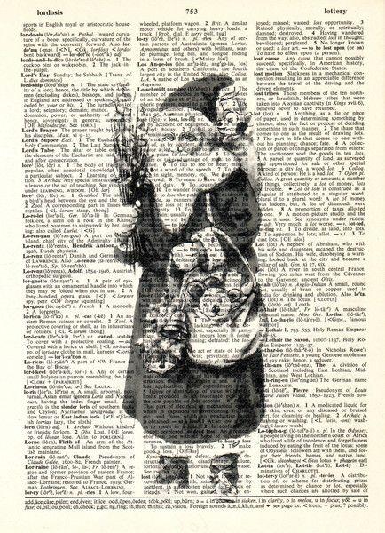 Digitaldruck - WEIHNACHTS MANN Antike Weihnachts original vorlage - ein Designerstück von Dictionary-vintage-book-page bei DaWanda