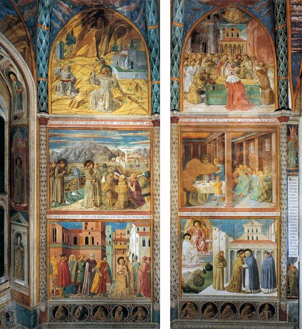 Fresco's van Gozzoli in de San Francesco, Montefalco
