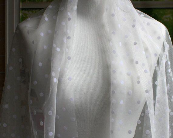 Perfect voor vrouwen, tieners, Bridal kroon Tiara bruidssluier, Polka Dot sluier, bruids toebehoren, gordijnen behandelingen, haaraccessoires, partij dragen, Vintage hoofdband, jurken, poppen en andere projecten die je zou kunnen voorstellen.  Sierlijke tulle stof met polka dot Breedte: 60(150 cm) Lengte: 1 Yard (90 cm) Middelste Dot Diameter: 8 mm Meerdere werven zal worden gesneden in een ononderbroken stuk.   Groothandel 10 werven: https://www.etsy.com/listing/183662464 met kleine…