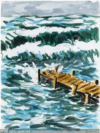 BOSMAN Richard, *1944 (USA)  Title : THE PIER   Date : 1987      Category : Paintings  Medium :    : acrylic on paper