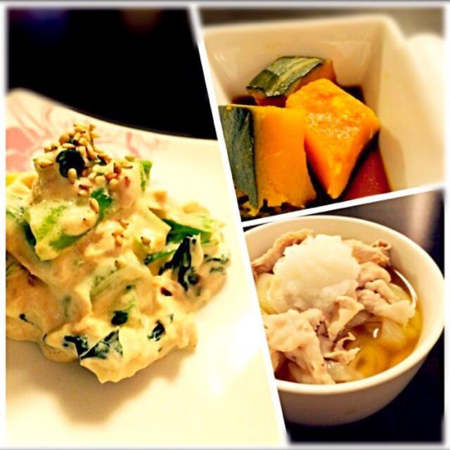 野菜キライな子供(3才、2才)ですが 小松菜とツナの和え物はペロリ♪ - 5件のもぐもぐ - 豚しゃぶうどん*かぼちゃ煮*小松菜とツナの和え物 by みゃ。