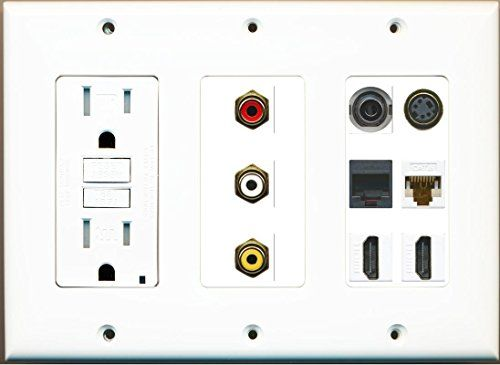 riteav 15a gfci outlet 2 hdmi cat6 composite 35mm phone svideo wall plate