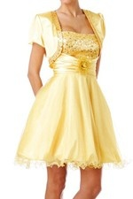 This unique design called  Total New Design Gold Medieval Bridesmaid Gowns with Super Short Skirt  which can show females' curve perfectly. This dress made of Satin , Organza fabric, featuring on Floral , Sequin embellishment and its Strapless neckline is the bestseller of Classic Bridesmaid Dresses And we also offer various of wedding party dresses in the latest designs leading the fashion trends. - $98.09