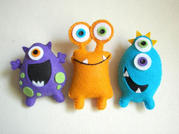 Plush toys Felt toys Monster Monster Friends by atelierbloom