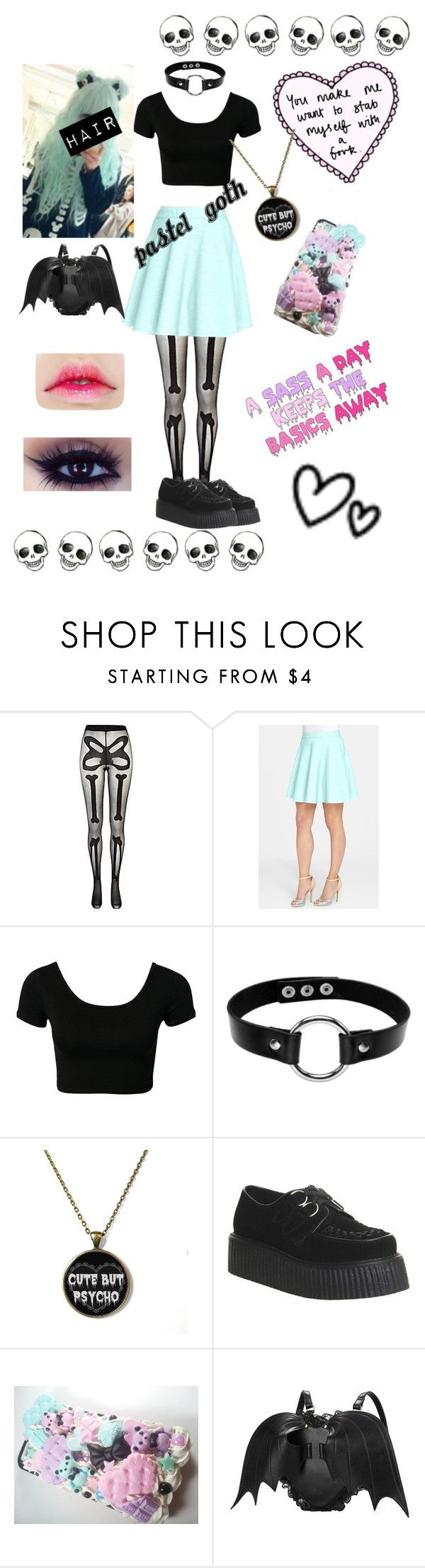 """""""Pastel goth"""" by teenagederpbagg ❤ liked on Polyvore featuring River Island, Catherine Catherine Malandrino and Underground"""