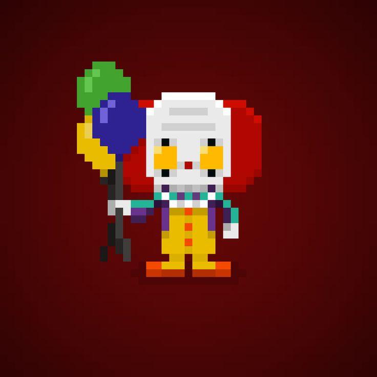 Speciale Halloween 2015 Pennywise the Dancing Clown from It (Tim Curry | Stephen King) in Pixel Art # #halloween #halloween2015 #costume #costumes #horror #stephenking #timcurry #clown #it #Pennywise #tvmovie #movie #film #pennywisetheclown #ittheclown #movie #instadaily #instacool #instamusic #instafamous #pixelart #pixel #16bit #arcade #pixelated #theoluk