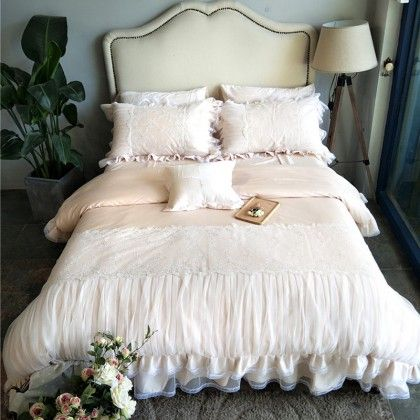 French Lace Ruched Beige Duvet Cover
