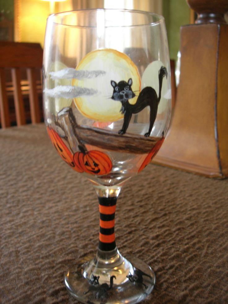 Halloween en tus copas! lo puedes hacer fácilmente con Pébéo Vitrea 160! Hand Painted Wine Glass. By Brookshire
