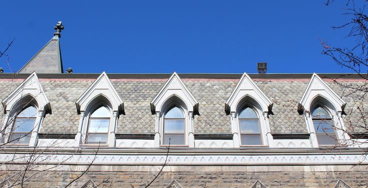 Morrice Hall at McGill University.  Old slate roof with scalloped slates and Unfading Red.