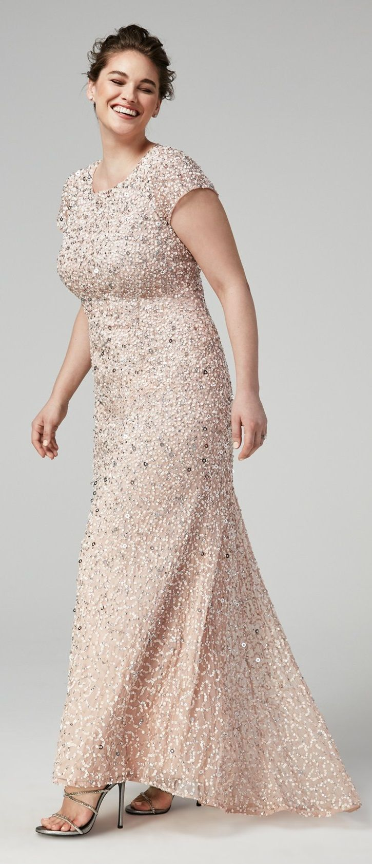 Plus Size Embellished Scoop Back Gown