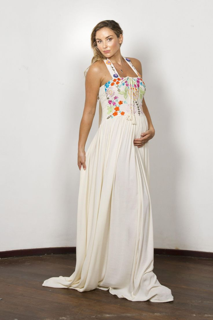 """""""Botanica"""" Women's crochet and embroidered maxi dress - Blush Fillyboo - Boho inspired maternity clothes online, maternity dresses, maternity tops and maternity jeans."""