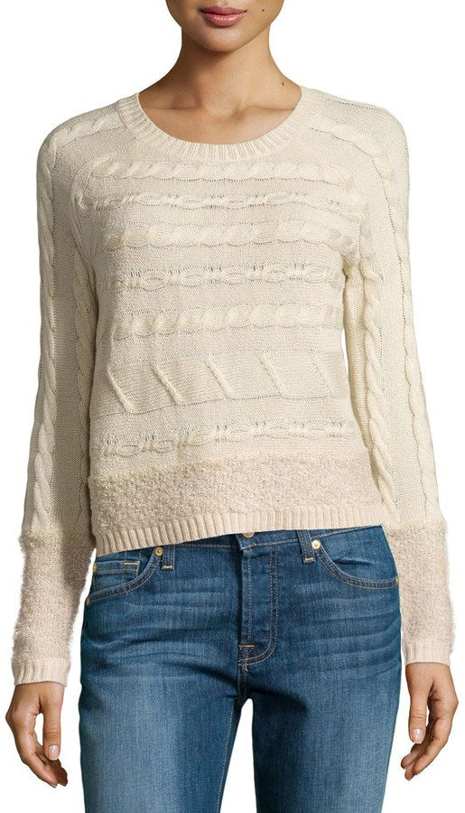 Design History Cable & Looped Knit Crop Sweater, Canvas Heather