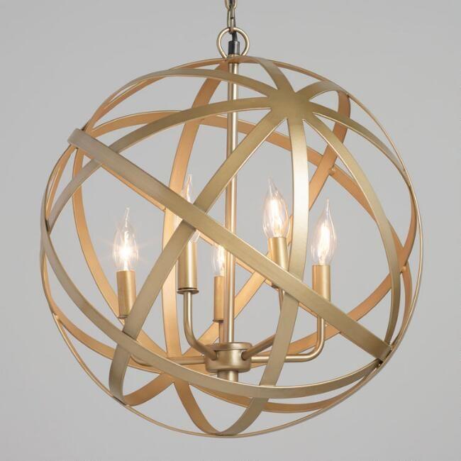 Antique Brass Orb 5 Light Chandelier Living Room Light Fixtures