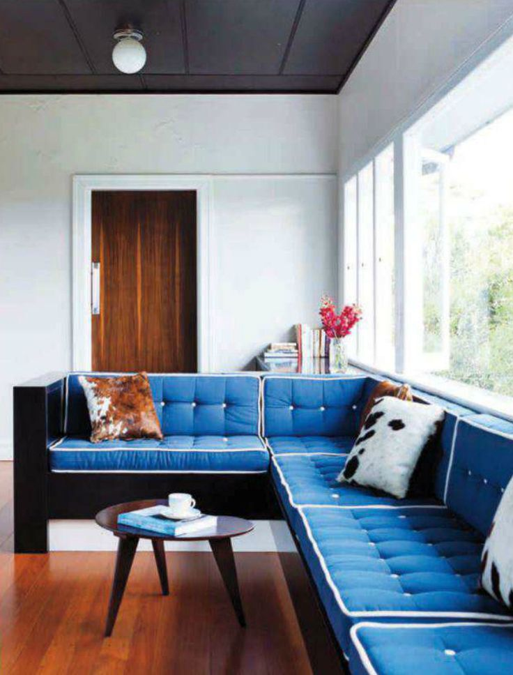 Contemporary style living room with a cobalt blue couch for Cobalt blue living room