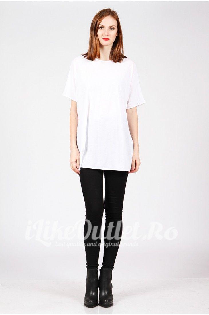 Tricou alb, larg COS