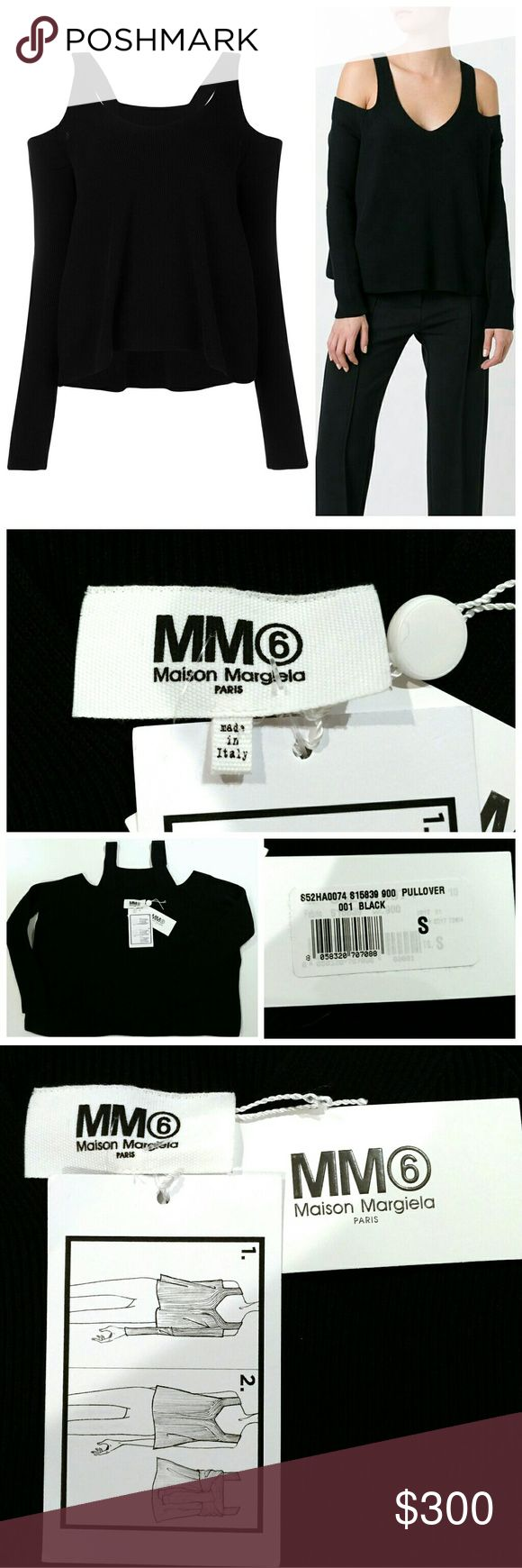 SALE💥MM6 Maison Margiela Cold Shoulder Sweater Cool girl chic! 💥 Rare + sold out MM6 Pullover Cold Off Shoulder -2 ways to wear- sweater in Black, size Small.  Made in Italy!  Retails for $480 + tax. Current season/SOLD OUT in this size.  No Trades ✋ No Lowballers. Maison Margiela Sweaters V-Necks