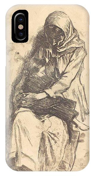 The IPhone X Case featuring the painting The Refugees 1923 by Vermont Nicolae