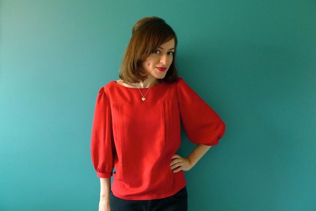 Red Button-Back Blouse
