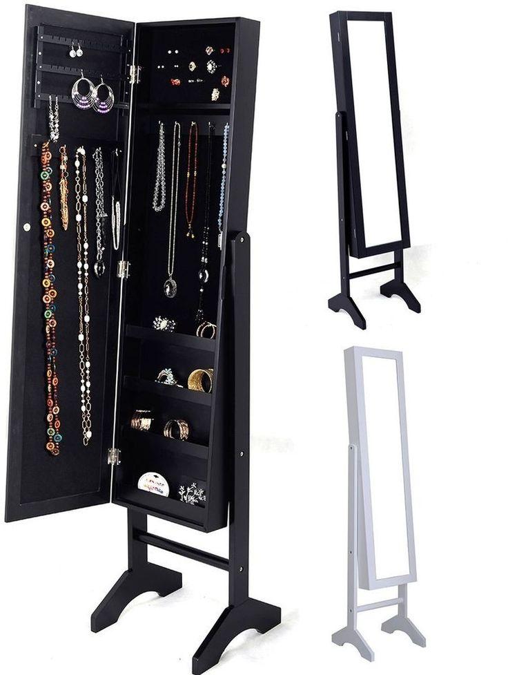 new mirrored jewelry cabinet mirror organizer armoire storage box ring wstand mirroredcabinet - Ensemble Vanite Armoire