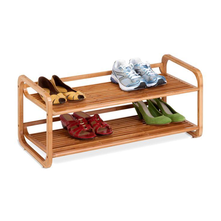 2-Tier Stackable Bamboo Shoe Shelf