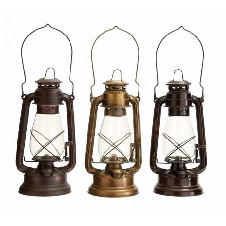 Set of three assorted metal classic vintage lanterns