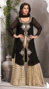 Trendy black faux georgette and net readymade suit with palazzo pant which is ornamented with a zari, kasab embroidery work on the yoke and center panel. Contrast resham embroidery work palazzo pant bottom and matching dupatta attached with this attire. This readymade suit has maximum bust size of 34 to 42 inches....